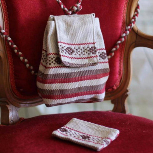 Cotton Dark red and kaki tiny backpack and coin pouch ethically made in Oaxaca