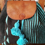 Large unisex wool and leather backpack handmade ethically in Oaxaca