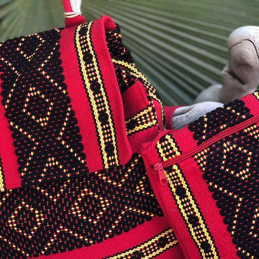 Unisex SAKADO backpack & crossbody bag, woven art handmade in Oaxaca.