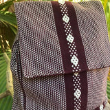 Simple unisex hand woven backpack medium size colorful and exotic