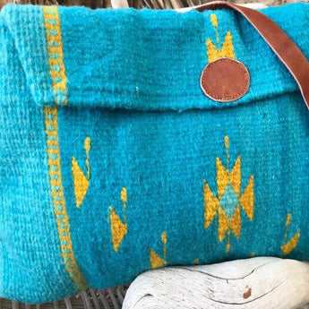 Trapezoid wool shoulder bag crossbag crossbody bag for tablet, handmade in Oaxaca