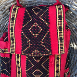 Quality red and black backpack with lots of pockets and key leash