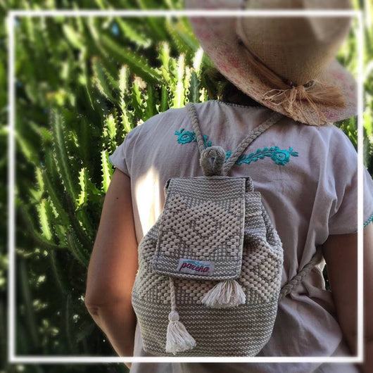 Breathable cotton mini-backpack tablet size handmade in Oaxaca