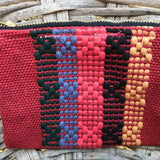 Small red striped coin pouch handmade in Oaxaca ethically