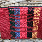 Medium red striped travel pouch handmade in Oaxaca ethically