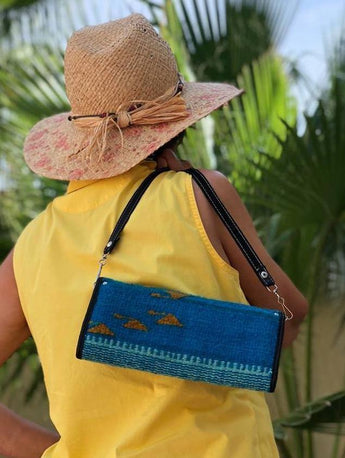 Leather and wool clutch/wallet bag with detachable strap, handmade in Oaxaca