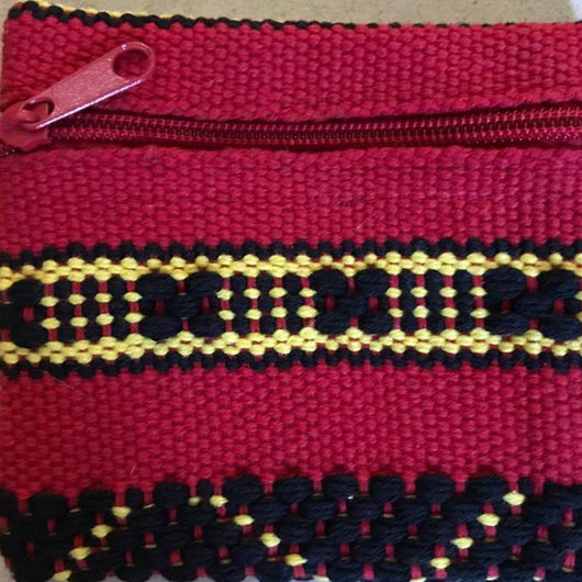 Small red and black cotton coin pouch made in Oaxaca ethically