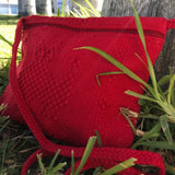 Red Small unisex crossbody bag made in Oaxaca, Mexico ethically