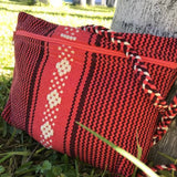 burgundy and salmon Small unisex crossbody bag made in Mexico ethically