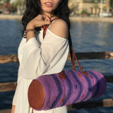 Handcrafted wool and leather round shoulder bag