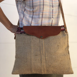 Large unisex messenger bag in jute and leather ethically made in Mexico