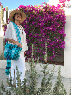 Turquoise Wayuu bucket bag made in Colombia ethically
