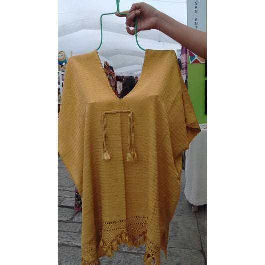 Very high quality silk shirt - mustard colour - unisize. Handmade in Oaxaca - pazeña