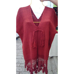 High quality silk shirt - Red - unisize. Handmade in Oaxaca.