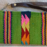 green Wool wristlet with detachable leather handle ethically made in Mexico