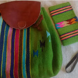 Green wool backpack and wristlet made in Mexico ethically