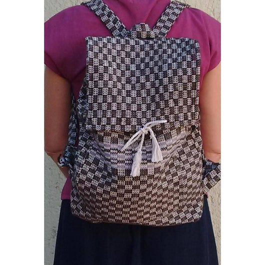 Unisex medium size wool and cotton backpack handmade ethically in Oaxaca