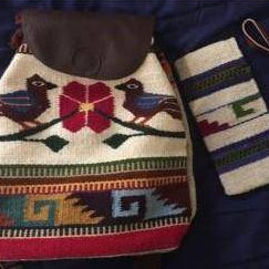 Set medium size wool backpack & assorted wristlet handmade ethically in Oaxaca