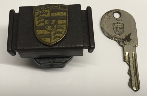 Porsche 924/944 brown glove box lock & original key with porsche logo badge 477857133. ((LB21a))