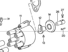Porsche 924 S and 944 2.5 8v rotor arm. ((LB117)) - Woolies Workshop - Porsche 924 944 spares