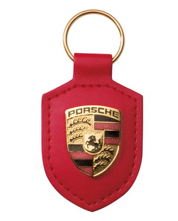 Porsche crest keyring, RED. Genuine Key ring. (recp) - Woolies Workshop - Porsche 924 944 spares