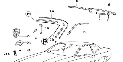 Porsche 924 944 front screen trim seal LEFT 944 559 028 00