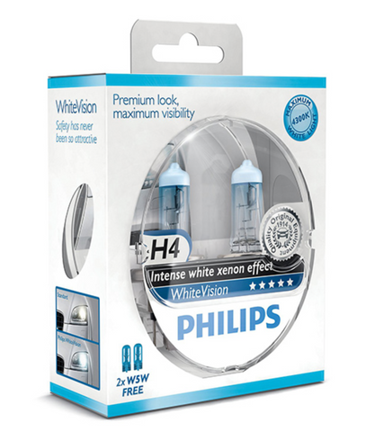 Philips White Vision Xenon Effect - H4 Twin Pack (free set of 501 Bulbs Included) - Woolies Workshop - Porsche 924 944 spares