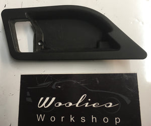Porsche 928 Black Interior door handle rear surround. 92853754502 - Woolies Workshop - Porsche 924 944 spares