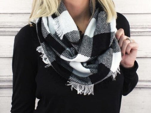 Black and White Delight- Infinity Scarf - Shop Poppy Lane