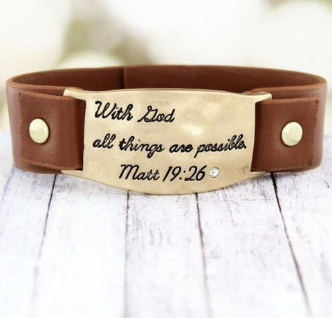 Matt 19:26- Cuff Bracelet - Shop Poppy Lane