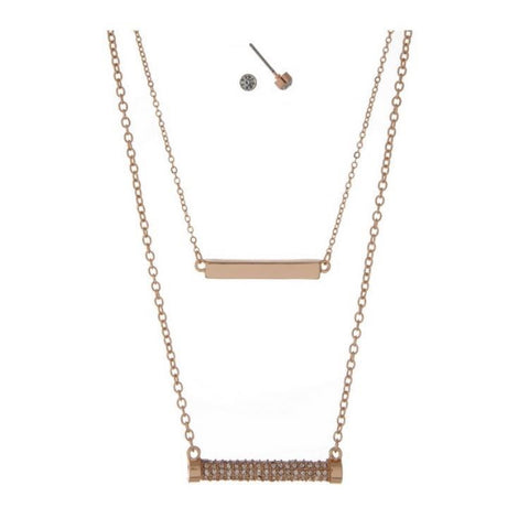 Perfectly Paired- Double Crossbar Necklace and Earring Set - Shop Poppy Lane