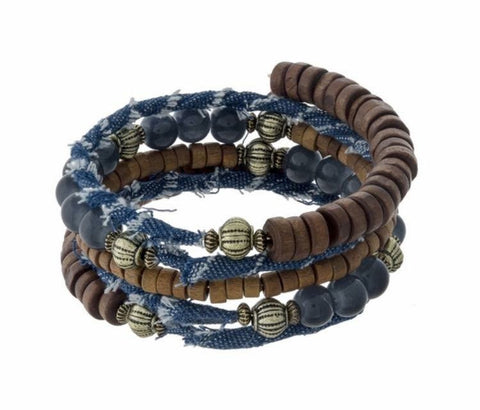 Blue Jeans and Beaded- Bracelet - Shop Poppy Lane