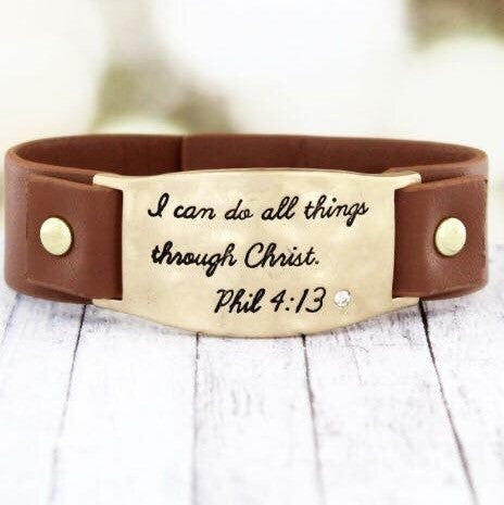 Phil 4:13- Cuff Bracelet - Shop Poppy Lane