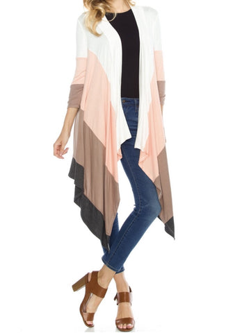 Captivating Colorblock Cardigan- Coral - Shop Poppy Lane