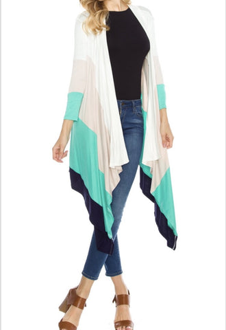 Captivating Colorblock Cardigan- Mint - Shop Poppy Lane