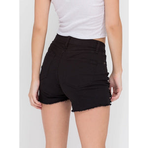 Black Low Rise Destructed Shorts