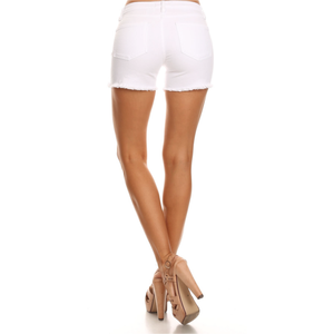 White Low Rise Distructed Shorts