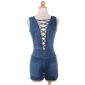 Lace Me Up Denim Playsuit