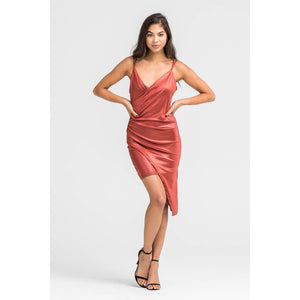 Metallic Rust Cocktail Dress