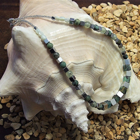 Prenite, African turquoise and hematite necklace - M17009