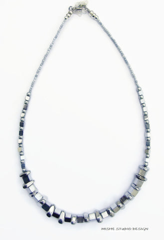 All Silver Hematite Necklace - 18250N