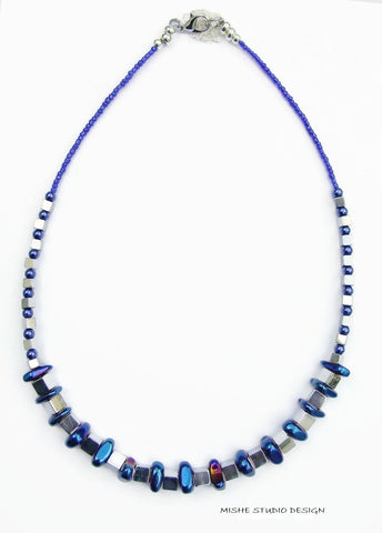 Blue and Silver Hematite Necklace - 18251N