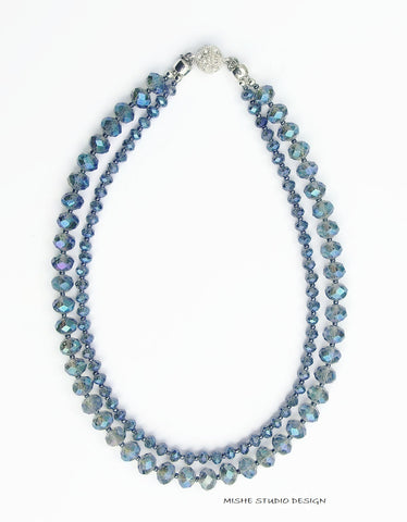 2-Strand Electric Blue Crystal Necklace - 18205N
