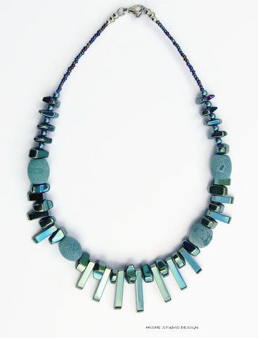 Teal Gemstone Fan Necklace - 18233N