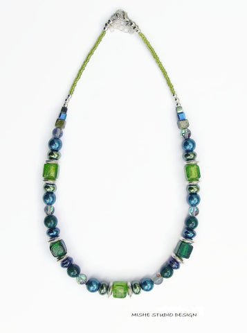 Blue/Green Gemstone Necklace - 18202N