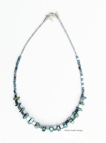 Silver/Teal Hematite Necklace - 18249N