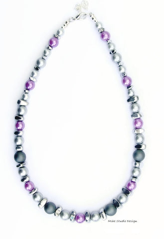 Lilac and Grey Pearl Necklace - 18255N