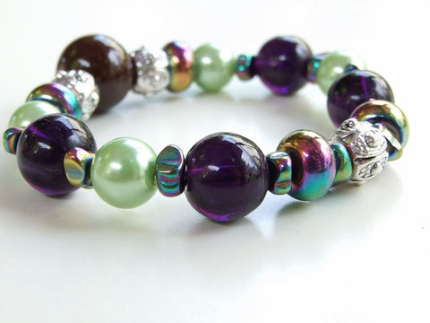 Purple and Green Gemstone Bracelet - 19021BR