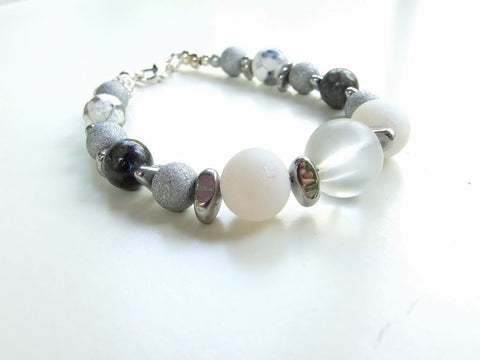 Silver, White and Grey Gemstone Bracelet - 20143BR