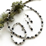 Black and Silver Pearl and Crystal Necklace - 20204N